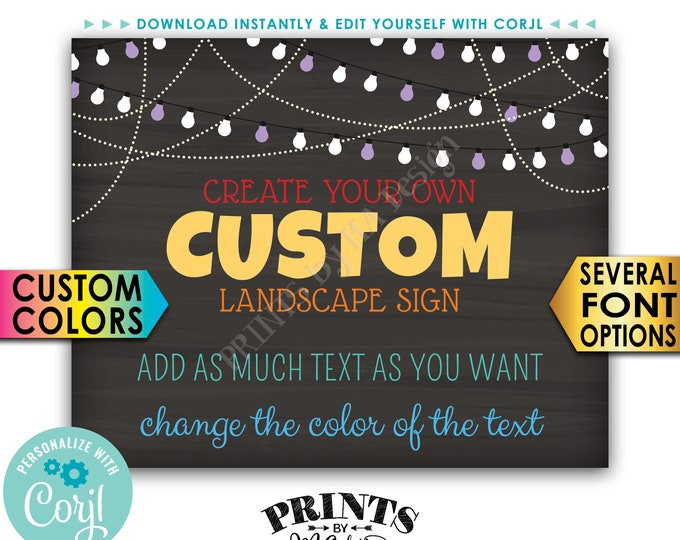 """Custom Chalkboard Style Poster with Lights, Choose Your Text & Colors, One PRINTABLE 8x10/16x20"""" Landscape Sign <Edit Yourself with Corjl>"""