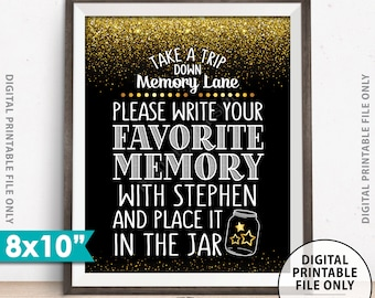 """Share a Memory Sign, Take a Trip Down Memory Lane and Share a Favorite Memory, Custom 8x10"""" PRINTABLE Black & Gold Glitter Sign"""