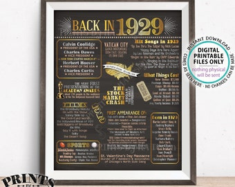 "1929 Flashback Poster, Flashback to 1929 USA History Back in 1929 Birthday, Remember 1929 Facts, PRINTABLE 16x20"" Sign <ID>"