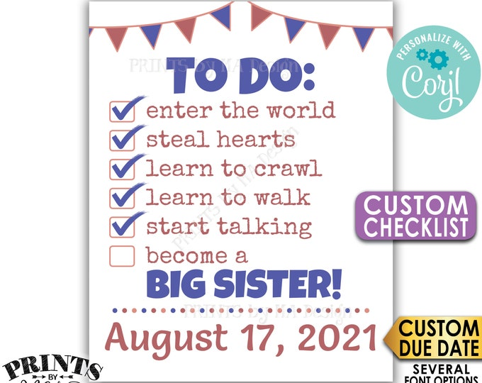 """To Do List Pregnancy Announcement, Become a Big Sister, PRINTABLE 8x10/16x20"""" CUSTOM CHECKLIST Sign <Edit Yourself with Corjl>"""
