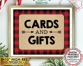 "Lumberjack Cards and Gifts Sign, Buffalo Plaid Gifts & Cards Sign, Red Checker Christmas Decorations, PRINTABLE 8x10"" Instant Download Sign"