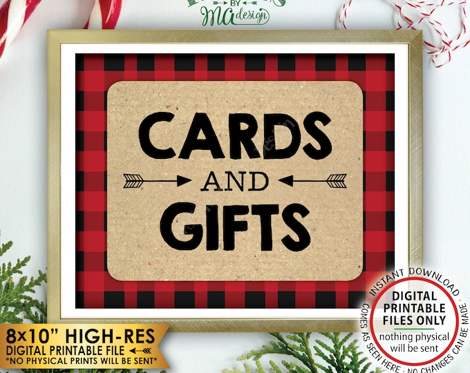 "Lumberjack Cards and Gifts Sign, Gifts & Cards Sign, Red Checker Buffalo Plaid Christmas Decorations, PRINTABLE 8x10"" Lumberjack Sign <ID>"