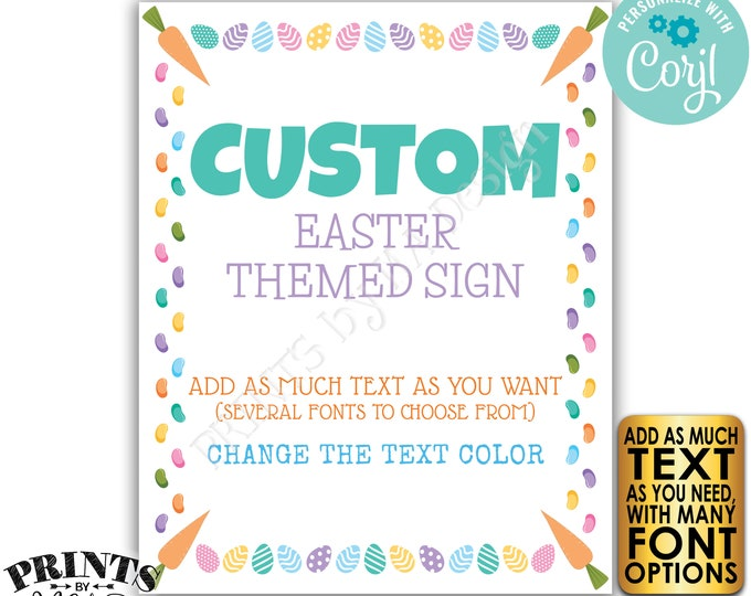 """Editable Easter Sign, Choose Your Text, Easter Eggs & Jelly Beans, One Custom PRINTABLE 8x10/16x20"""" Portrait Sign <Edit Yourself w/Corjl>"""