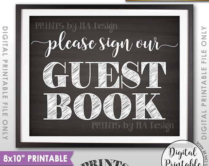 """Wedding Guestbook Wedding Sign, Please Sign Our Guestbook, Sign the Guestbook, Guest Book, 8x10"""" Chalkboard Style Printable Instant Download"""