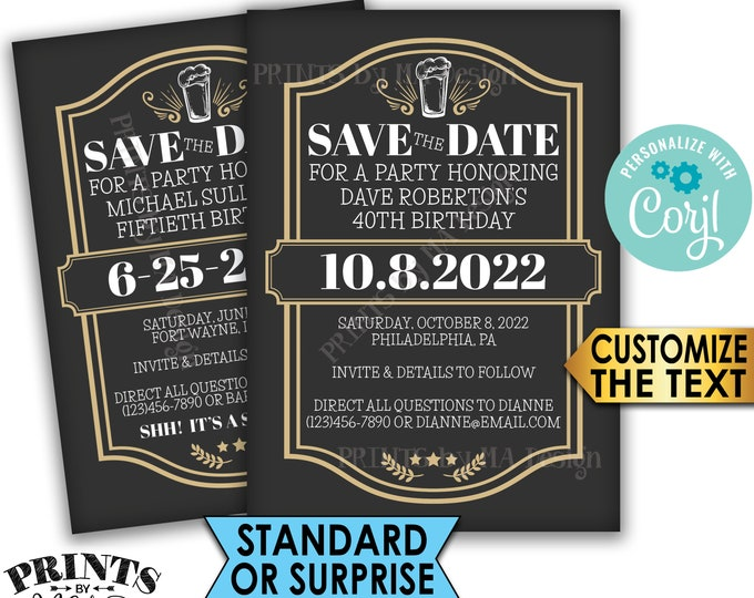 "Cheers and Beers Birthday Party Save the Date, Beer Themed Birthday, PRINTABLE 5x7"" Save the Date, Gold <Edit Yourself with Corjl>"