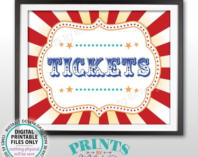 "Carnival Tickets Sign, Circus Games, Birthday Party, Circus Activities, Festival Raffle Tickets, PRINTABLE 8x10/16x20"" Tickets Sign <ID>"