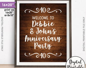 """Anniversary Party Sign, Welcome to the Anniversary Party Decorations, Wedding Anniversary Gift, 8x10/16x20"""" Rustic Wood Style Printable"""