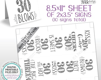 "30th Birthday Party Candy Signs, Dirty Thirty Candy Bar, 30 Sucks Blows Rocks Sweet, Kiss 20s Goodbye, PRINTABLE 8.5x11"" Sheet of Cards <ID>"