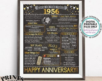 "1956 Anniversary Poster, Back in 1956 Anniversary Gift, Flashback to 1956 Party Decoration, PRINTABLE 16x20"" Sign <ID>"