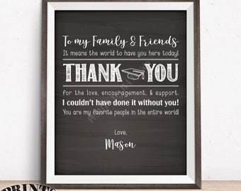 "Graduation Thank You Sign, Thanks from the Graduate Poster, PRINTABLE 8x10/16x20"" Chalkboard Style Graduation Party Decoration"