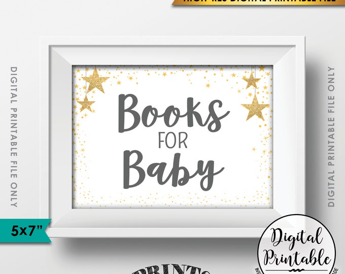 """Books for Baby Shower Sign, Books Sign, Gray Text Baby Shower Decor, Gold Glitter Twinkle Stars, Instant Download 5x7"""" Printable Sign"""