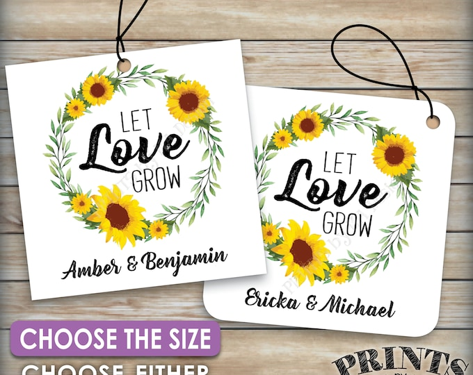 """Let Love Grow Tags, Sunflower Wedding Greenery Tags, Flower Seeds Wedding Favors, Wedding Favors, Choose Tag Size, 8.5x11"""" PRINTABLE Sheet"""