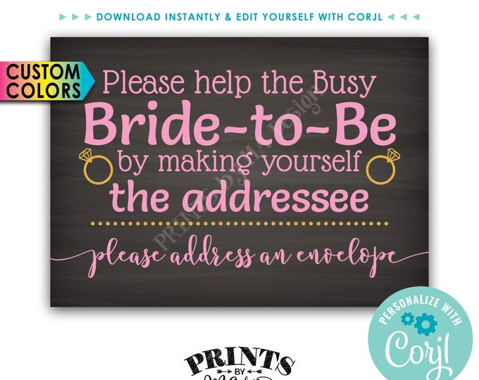 Bridal Shower Address an Envelope Sign, Help the Busy Bride-to-Be by being the Addressee, PRINTABLE Sign <Edit Colors Yourself with Corjl>