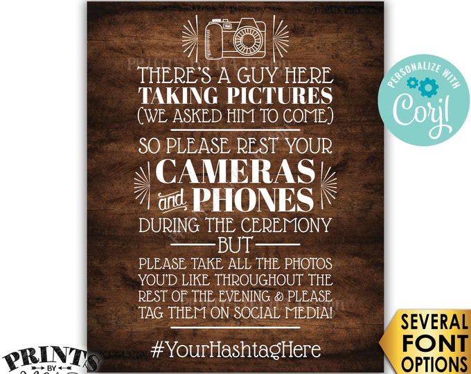 "Unplugged Wedding Ceremony, We Hired a Photographer & Asked Him to Come, PRINTABLE Rustic Wood Style 16x20"" Sign <Edit Yourself with Corjl>"