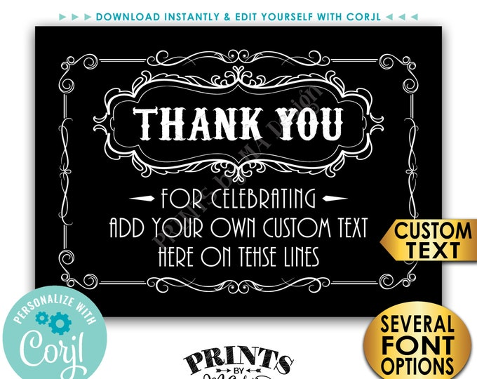 "Vintage Style Thank You Card, Better with Age, Custom PRINTABLE 5x7"" Digital File, Old No Whiskey Liquor Theme <Edit Yourself with Corjl>"