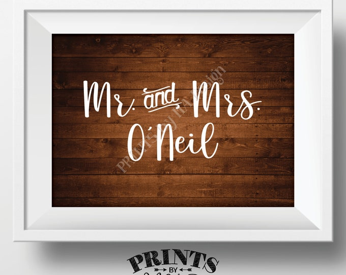 "Bridal Party Name Sign, Reserved for the Wedding Party Names, Bridal Table, Gift, Wedding Reception, PRINTABLE 5x7"" Rustic Wood Style Sign"