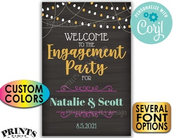 """Engagement Party Sign, Welcome Sign, Custom PRINTABLE 24x36"""" Chalkboard Style Engagement Party Decoration <Edit Yourself with Corjl>"""