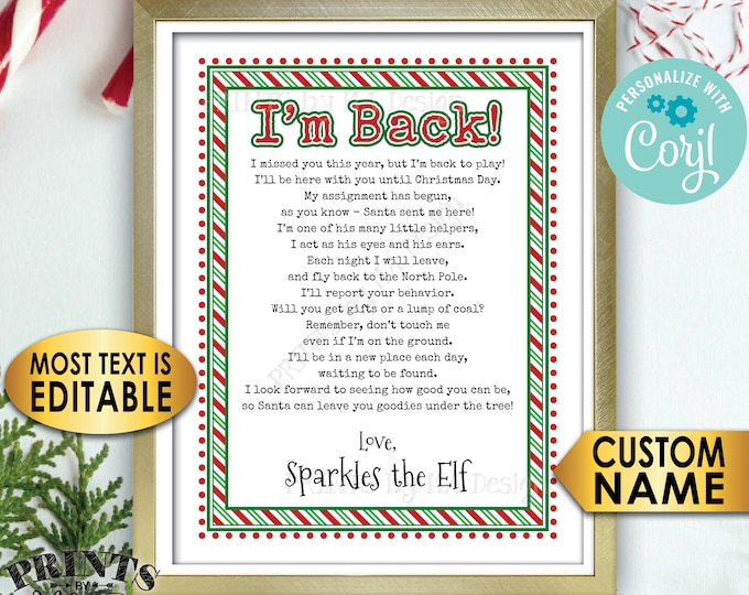 "Christmas Elf Welcome Back Letter, I'm Back, Elf has Returned, One Custom Editable PRINTABLE 8.5x11"" Digital File <Edit Yourself with Corjl>"