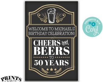 """Cheers and Beers Birthday Sign, Cheers & Beers Party, Cheers to B-day Years, Custom PRINTABLE 24x36"""" Sign <Edit Yourself with Corjl>"""