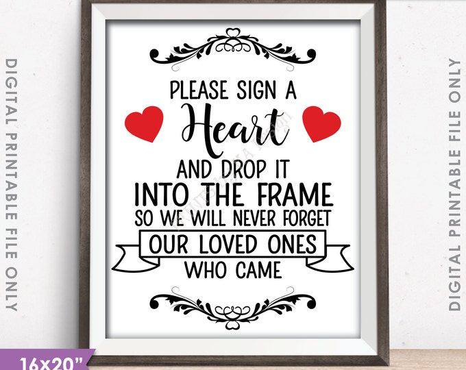 "Guestbook Hearts Sign, Sign a Heart, Guest Book Alternative, Wooden Hearts Sign, 16x20"" or 8x10"" Instant Download Digital Printable File"