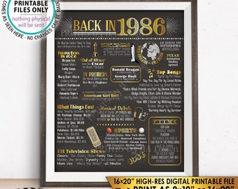 "1986 Flashback Poster, Flashback to 1986 USA History Back in 1986 Birthday Anniversary Reunion, PRINTABLE 16x20"" Sign <ID>"