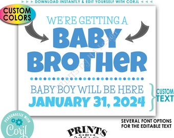 We're Getting a Baby Brother Pregnancy Announcement, It's a Boy, Custom PRINTABLE Gender Reveal Sign <Edit Yourself with Corjl>