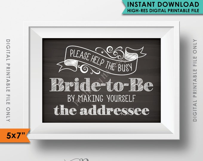 "Address Envelope Sign, Help the Bride by Addressing an Envelope, Be the Addressee, PRINTABLE 5x7"" Chalkboard Style Bridal Shower Sign <ID>"