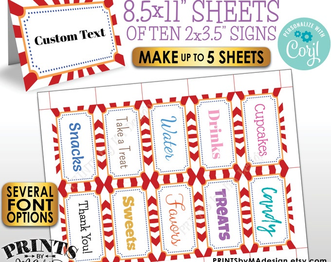 """Carnival Place Cards, Circus Birthday Party Buffet Food Tags, Up to 5 PRINTABLE 8.5x11"""" Sheets of 2x3.5"""" Labels <Edit Yourself with Corjl>"""