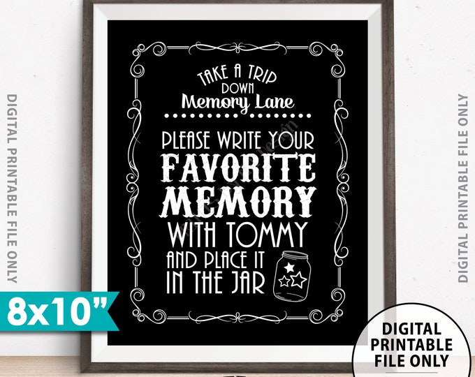 "Share a Memory Sign, Take a Trip Down Memory Lane and Share a Favorite Memory Whiskey Birthday Party Retirement, Custom 8x10"" PRINTABLE Sign"