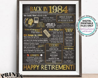 "Retirement Party Decorations, Back in 1984 Poster, Flashback to 1984 Retirement Party Decor, PRINTABLE 16x20"" Sign <ID>"