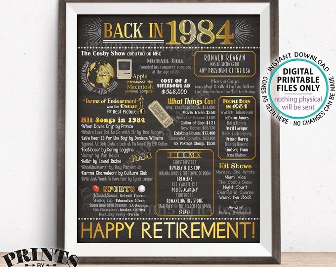 "Retirement Party Decorations, Back in 1984 Poster, Flashback to 1984 Retirement Party Decor, Chalkboard Style PRINTABLE 16x20"" Sign <ID>"