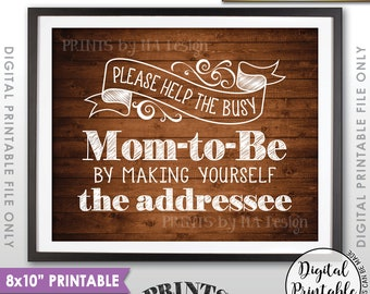 """Baby Shower Address Envelope Sign, Help the Mom-to-Be Address an envelope Shower Decor, 8x10"""" Rustic Wood Style Printable Instant Download"""
