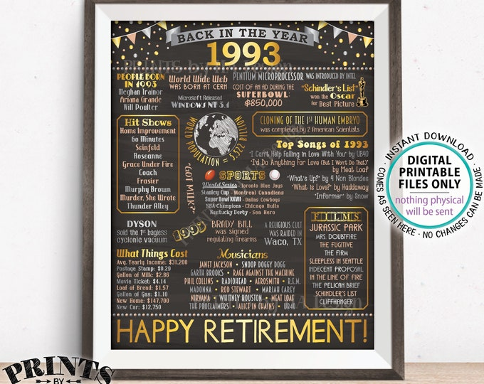"Back in 1993 Retirement Party Sign, Flashback to 1993 Poster Board, PRINTABLE 16x20"" Retirement Party Decoration <ID>"