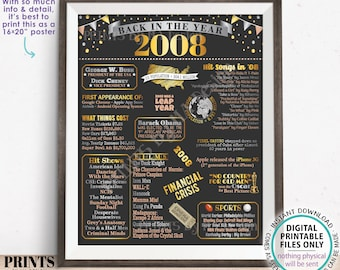 """Back in the Year 2008 Poster Board, Remember 2008 Sign, Flashback to 2008 USA History from 2008, PRINTABLE 16x20"""" Sign <ID>"""