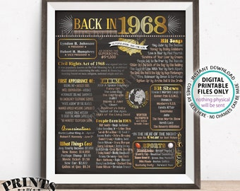 """Back in 1968 Poster Board, Remember 1968 Sign, Flashback to 1968 USA History from 1968, PRINTABLE 16x20"""" 1968 Sign <ID>"""