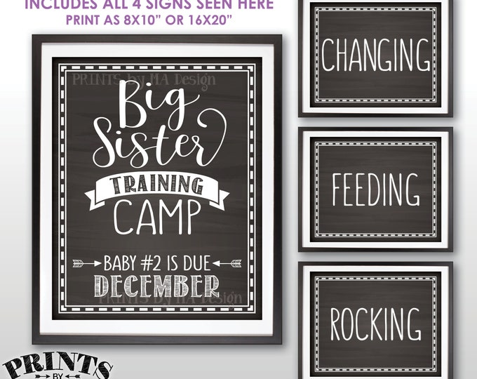 """Big Sister Training Camp Pregnancy Announcement Photo Props, Baby #2 is due DECEMBER Dated Chalkboard Style PRINTABLE 8x10/16x20"""" Signs <ID>"""