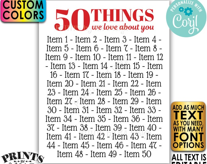 "Things You Love about the Birthday Boy/Girl, 50th Bday or Anniversary, Editable PRINTABLE 8x10/16x20"" Sign <Edit Yourself w/Corjl>"