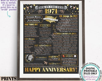 "Back in the Year 1971 Anniversary Sign, Flashback to 1971 Anniversary Decor, Anniversary Gift, PRINTABLE 16x20"" Poster Board <ID>"