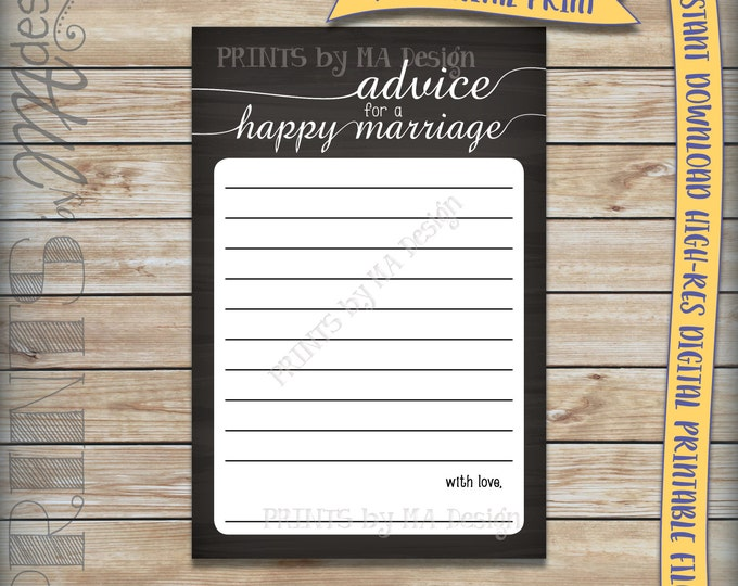 "Advice for a Happy Marriage Newlywed Advice Cards, Bridal Shower Activity, Mr & Mrs, Instant Download 4x6"" Chalkboard Style Printable File"