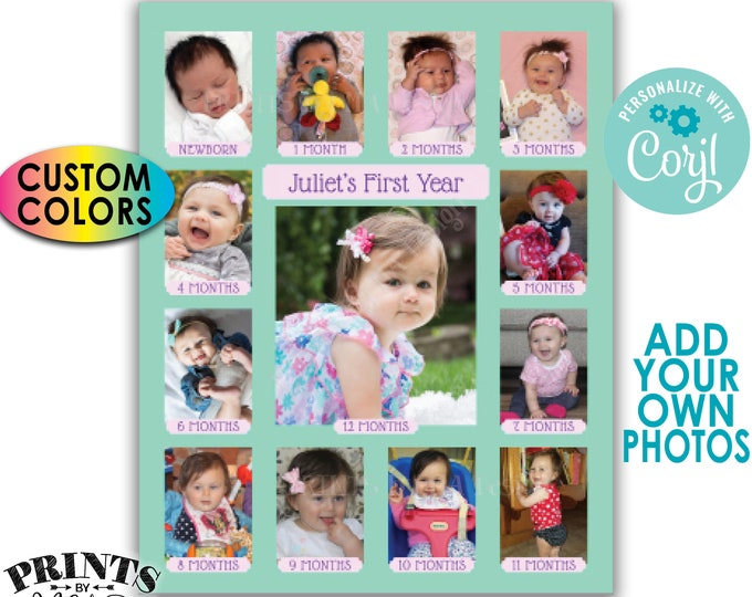 "First Birthday Photo Collage, Pictures from the First 12 Months, Custom Colors, PRINTABLE 8x10/16x20"" Sign <Edit Yourself with Corjl>"