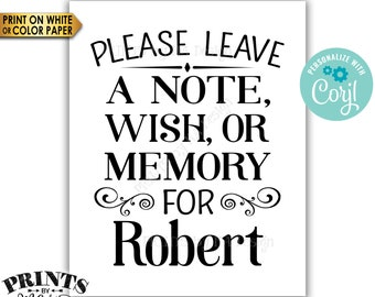 "Please Leave a Note Wish or Memory Sign, Write a Message Sign, PRINTABLE 16x20"" Sign, B&W <Edit Yourself with Corjl>"
