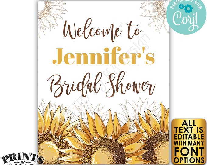 "Editable Sunflower Bridal Shower Sign, Welcome to the Sunflower Wedding Shower, PRINTABLE 8x10/16x20"" Sign <Edit Yourself w/Corjl>"