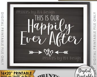 """This Is Our Happily Ever After Wedding Sign, Wedding Welcome Sign, Reception Decor, 8x10/16x20"""" Chalkboard Style Printable Instant Download"""