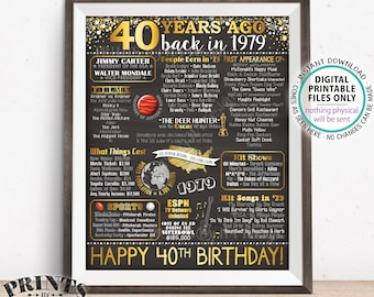 "40th Birthday Gift, Flashback 40 Years Ago Back in 1979 Born in 1979 Birthday, Gold, PRINTABLE 8x10/16x20"" Chalkboard Style B-day Sign <ID>"