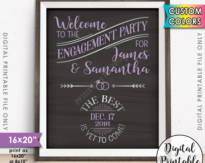 """Engagement Party Sign, Engagement Party Decorations, We're Engaged Engagement Celebration Sign, 8x10/16x20"""" Chalkboard Style Printable Sign"""
