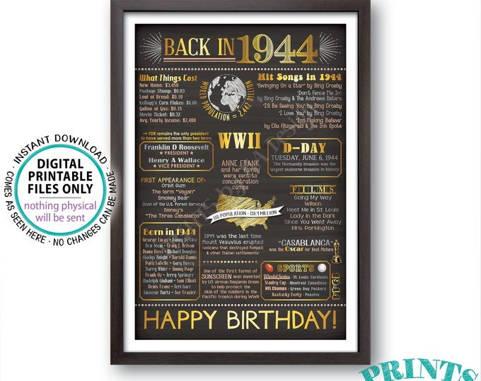 """1944 Birthday Flashback Poster, Back in 1944 Birthday Decorations, '44 B-day Gift, PRINTABLE 24x36"""" 1944 Sign <ID>"""