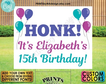 "Editable Honk Sign, Honk for Birthday, Welcome Home, One Custom PRINTABLE 8x10/16x20"" Landscape Balloons Sign <Edit Yourself with Corjl>"