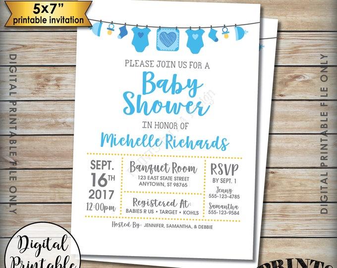 "Baby Shower Invitation, Baby Boy Blue Invitation, Clotheline Shower Invite, It's a Boy Invitation, Gender Reveal, 5x7"" Printable Invite"