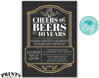 "Cheers and Beers Birthday Inviation, Cheers & Beers to Bday Years, Any B-day, Custom PRINTABLE 5x7"" Invite <Edit Yourself with Corjl>"