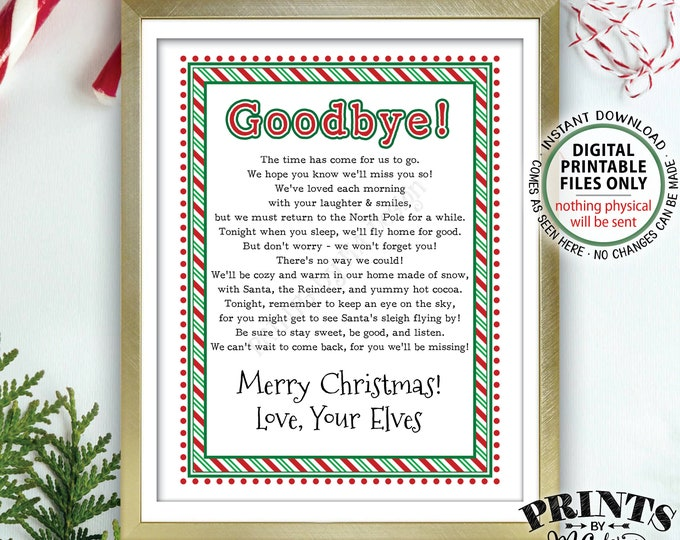 """Christmas Elves Goodbye Letter to Kids, Bye from Magic Elves Farewell Note, PRINTABLE 8.5x11"""" Elves Farewell Sign <Instant Download>"""